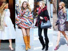 Invata de la Blake Lively cum sa porti hainele de iarna cu imprimeu