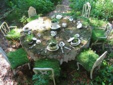 Pieces of old   furniture you turn garden in the fairytale realm