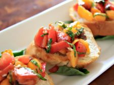 Delicious bruschetta   with red and the pepper pimiento