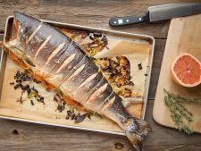 Salmon with grapefruit at  , oven perfect for recipe table of new year's Eve
