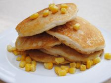 Pancakes of American corn with  , vegetables quick recipe  , by post