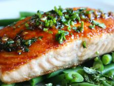 Salmon lime sugar and  , green bean a dinner fast healthy