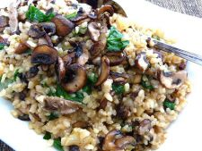Rice mushroom bacon and  , the recipe ideal for a dinner