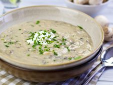 Soup-cream of mushroom with the  , yogurt a   Asian recipe
