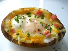 Stuffed potatoes eggs with  , a   easy delight of preparation