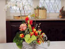 Cum sa creezi un aranjament floral cu orhidee, lalele si trandafiri VIDEO