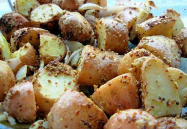 Cartofi noi in crusta de mustar