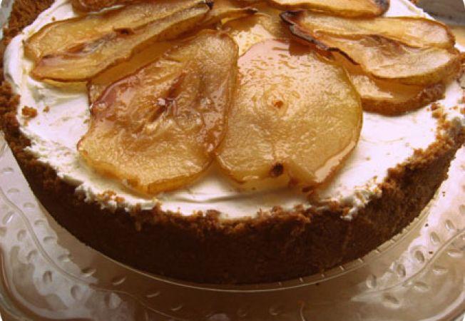 Cheesecake cu sirop de artar si pere