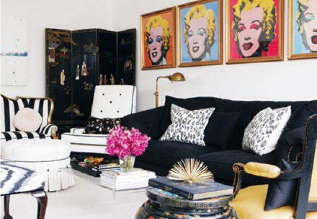 Idei de amenajare a livingului cu elemente pop art