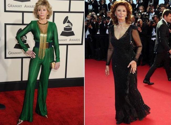 Frumoase si stralucitoare chiar si la varsta a treia. Jane Fonda sau Sophia Loren?