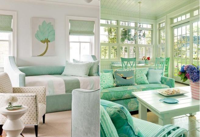 Camere intr o singura culoare verde menta - Camera da letto verde acqua ...